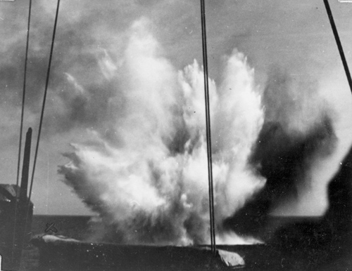 Near miss on HMS Naid in the Mediterranean Sea